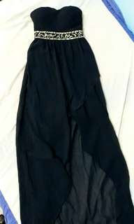 Navy Blue Tube High Low Dress