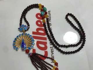 Necklace 孔雀開屏毛衣鍊襯 紅石榴石 鍊 garnet necklace