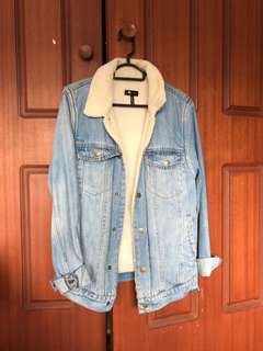Thrills denim Sherpa jacket
