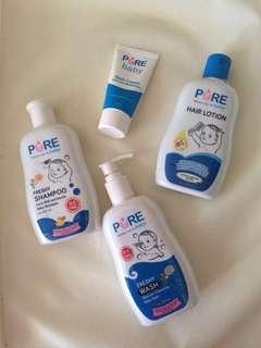 Pure Baby Bath, Shampoo, Hair Lotion, Rash Cream Take all + Free NEW legging anak 1-2T.