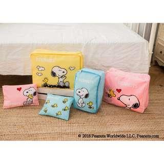 台灣 預購 Snoopy 史努比 有你真好系列 康是美 限定商品 SNOOPY有你最給力收納五入組 旅行收納