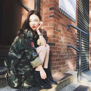 Minimei追加款✪韓系韓版歐美風百搭休閒徽章寬鬆中長款工裝迷彩夾克外套