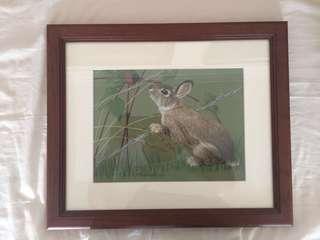 Original Art Rabbit pastel drawing
