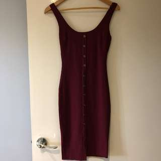Popcherry red midi ribbed dress size 6