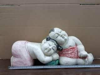 Wooden sleeping babies