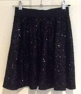 High waisted sparkly skirt