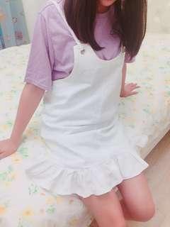 🚚 白色吊帶花邊裙