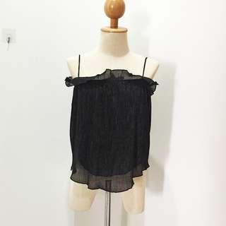 🆕BRAND NEW Ruffle Chifon Cami Black Top
