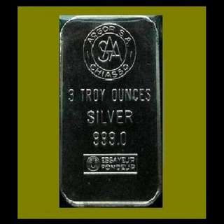 ★ SWITZERLAND, Argor Chiasso - 1x 3 Troy Oz. 999 Fine Silver Vintage bar