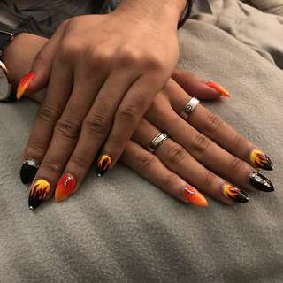 Fire Nails with diamonds @$35