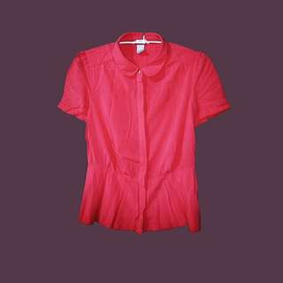 H&M red collared blouse