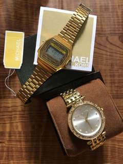 MK and casio watch