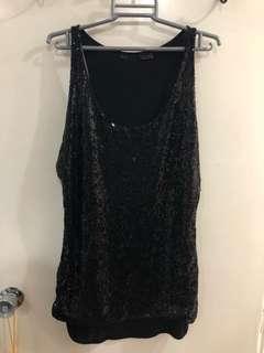Black Sequin Sleeveless Top