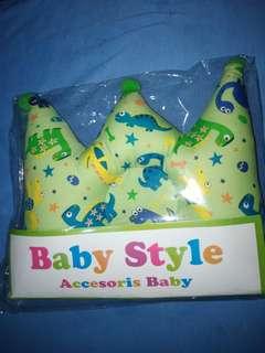 Bantal peyang bayi crown mahkota motif dino