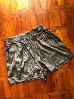 Xhiliration Army Green Satin Shorts