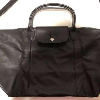 全新 Longchamp LE PLIAGE CUIR 小羊皮款 黑色 M號(中款)
