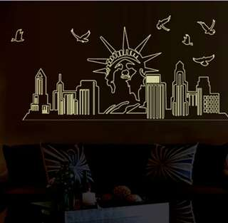 Stiker dinding motif new york city