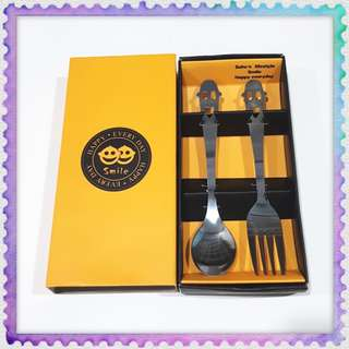Smile Face Happy Everyday Cute Spoon Fork Set
