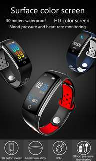 Q6 Bluetooth Fitness Tracker - Heartrate Monitor,Pedometer, Calorie Counter, Notificaions, Calls,, 0.96 Inch Display Ip68 (Gray) Or (Red) Or (Blue+White) (CVGT-W106)