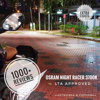 Osram Night Racer headlight bulb replacement for motorcycle. H4 and H7. Not Philips