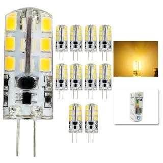 734. 10-Pcs G4 LED Bulb 12V DC, 10W T3 JC Halogen Light Bulbs Replacement, Warm White 3000K, G4 Bi-Pin Base Lamp
