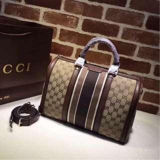Authentic Quality Gucci GG Canvas Vintage Web Boston Bag Sling Bag Hand Bag Gucci Medium Bowling Bag Women's Bag