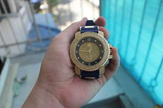Techno Pave Big Face Gold Watch