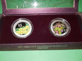 2007 Heritage Orchids of Singapore Silver Proof Coin Set