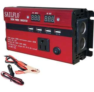 (324) SAILFLO 500W Power Inverter DC 12V to AC 110V Car Adapter with 5A 4 USB Charging Ports (500W)