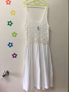 H&M Knee-length White Dress (Partially laced)