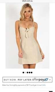 Beige cream linen mini dress
