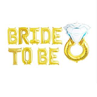"🚚 16"" BRIDE TO BE Foil Letter with Diamond Ring [Uninflated]"