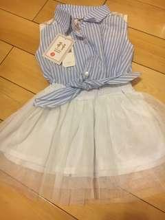 🚚 全新假二件式襯衫紗裙洋裝,100-110cm