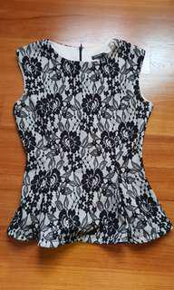 MNG Mango Suit Peplum Lace Sleeveless Top