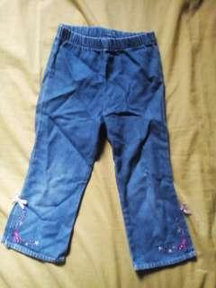 Blue Garterized Denim Pants