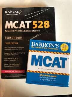MCAT 528 Advanced Prep and Barron's MCAT flash cards