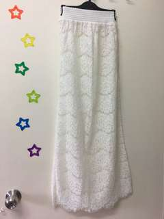 100% White Lace Long Skirt