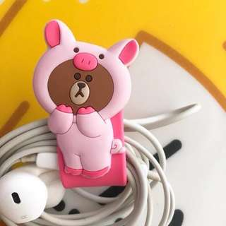 Line friends 繞線器 earphones 耳機線收納 piggy brown 熊大