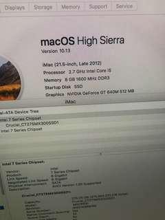IMAC 21.5吋 2.7Ghz i5 2012-Late 已升級SSD 275GB 4核心 USB 3.0