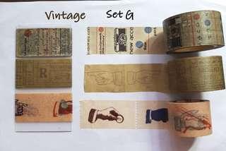 Vintage  themed  washi samples Set G