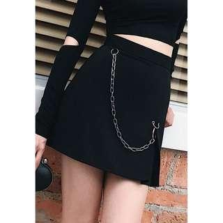 VM 原創設計 夏季 暗黑系辣妹 粗條鐵鍊圓環裝飾 高腰顯瘦A字短裙