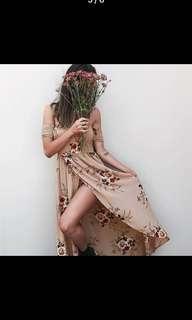 Off the shoulder slit summer dress