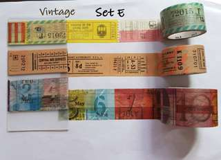 Vintage themed washi samples Set F (not E)