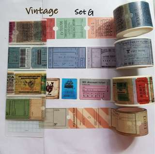 Vintage themed washi samples  Set E (not G)