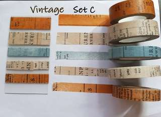 Vintage themed washi samples Set C