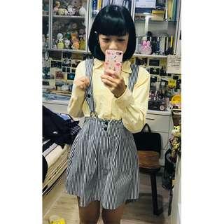 🚚 韓國帶回!超Q復古吊帶條紋短裙
