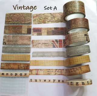 Vintage themed washi samples Set A