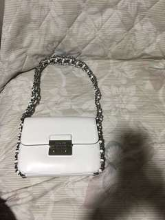Michael Kors shoulder Flap Bag leather optic white