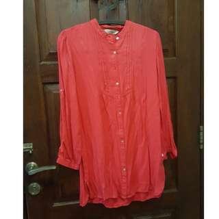 Baju Kain Panjang Merah Merk Triset