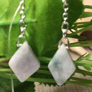 Certified 100% Grade A Pale green jadeite jade earrings S925 silver